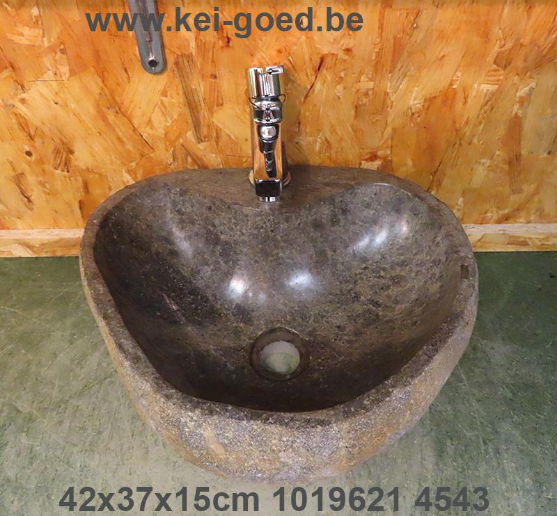 Riverstone washbasin for surface-mounted crane