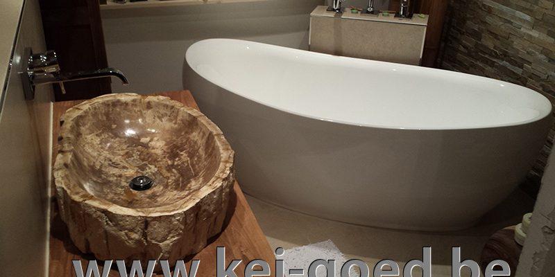 versteend hout in moderne badkamer