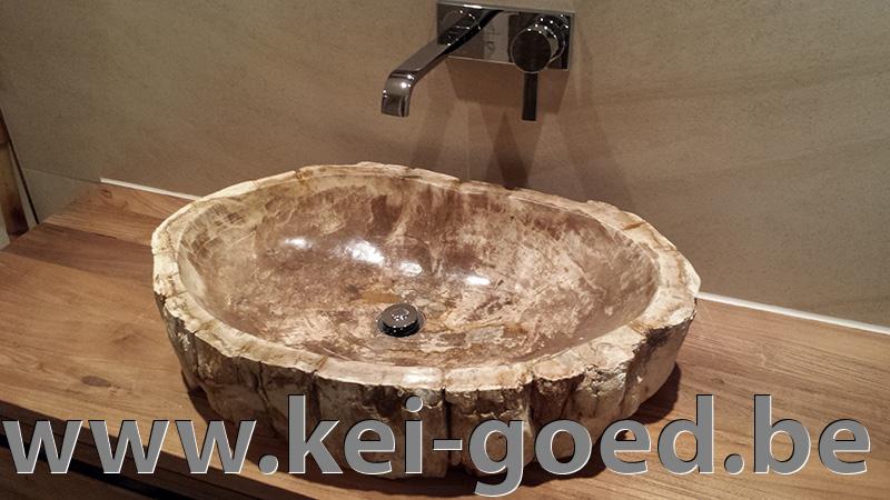 versteend hout in moderne badkamer van Marc Versluis # Wasbak Steen_065146