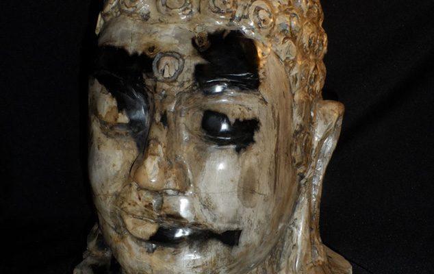 Buddha beeld van versteend hout