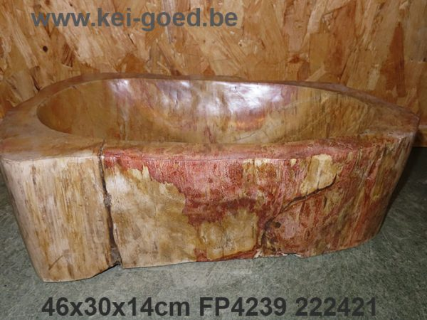 opbouw waskom versteend hout volledig gepolijst