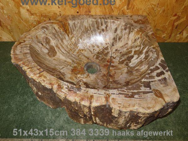 wasbak van versteend hout haaks geslepen
