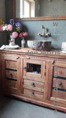 versteend houten waskom