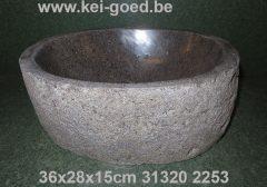rivierstenen waskom van granietsteen