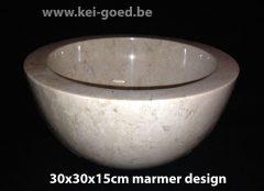 creme ronde design marmer waskom