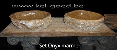 opbouw onyx marmer wastafel