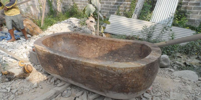 the bath carved from petrified wood