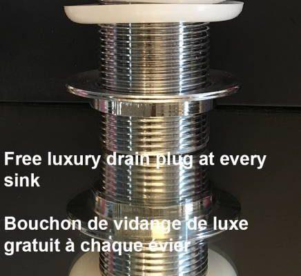 gratis luxe afvoerplug bij alle wasbakken