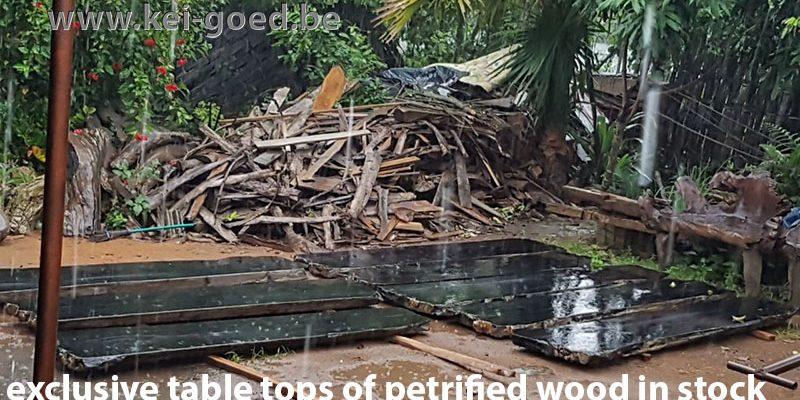 versteend houten tafelbladen
