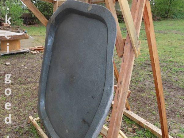 doucheplaat van riviersteen