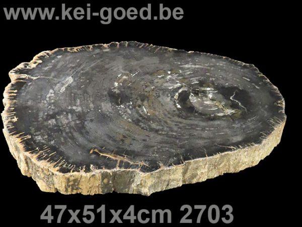 zwart versteend hout salon tafelblad