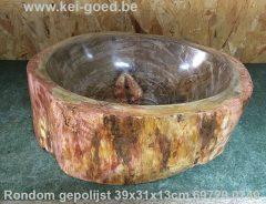 Fossiel hout wastafel geheel gepolijst