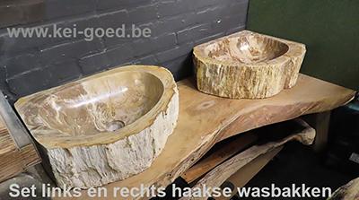 Set versteend houten wasbakken