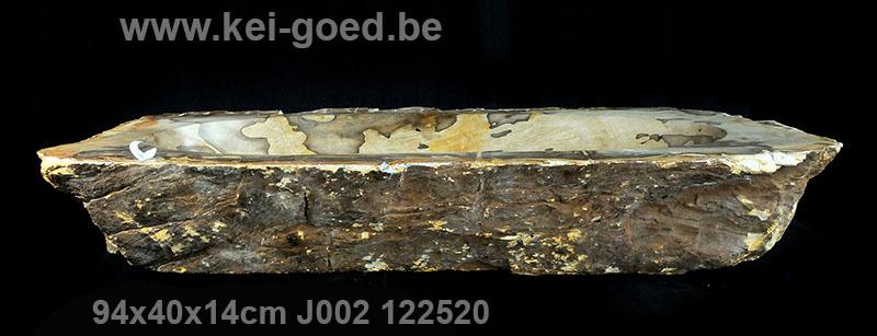 Grote trog van versteend hout